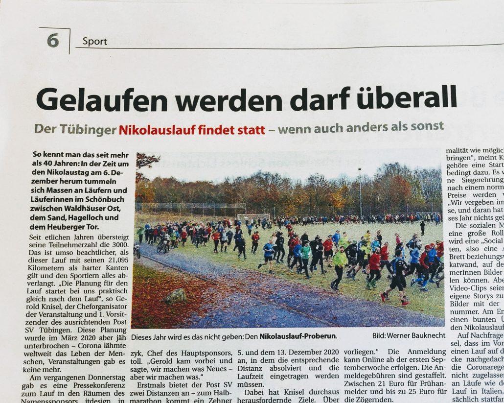 Ausschnitt Tagblatt Anzeiger Bericht PK virtueller Nikolauslauf 2020