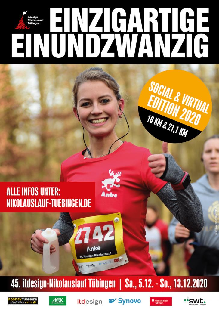 Plakat virtueller 45. itdesign Nikolauslauf Tübingen 2020 Halbmarathon 10 km Lauf