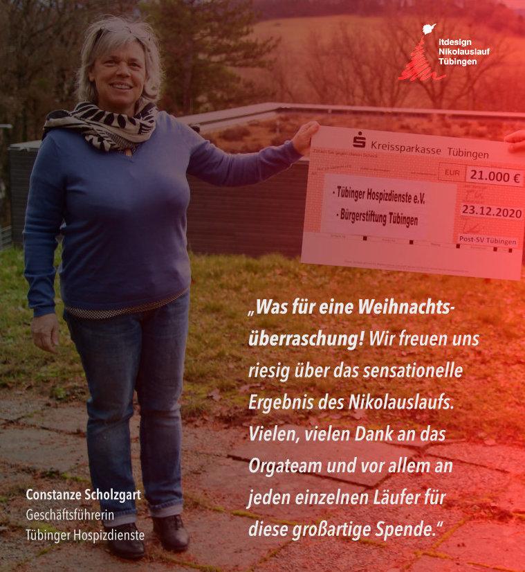 Tübinger Nikolauslauf Scheckübergabe Spendenaktion Sozialpartner Hospizdienste